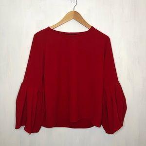 Zara Red Flutter Sleeve Top S